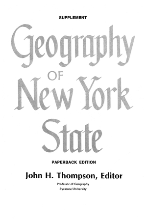 Cover for the book: Geography of New York State Supplement