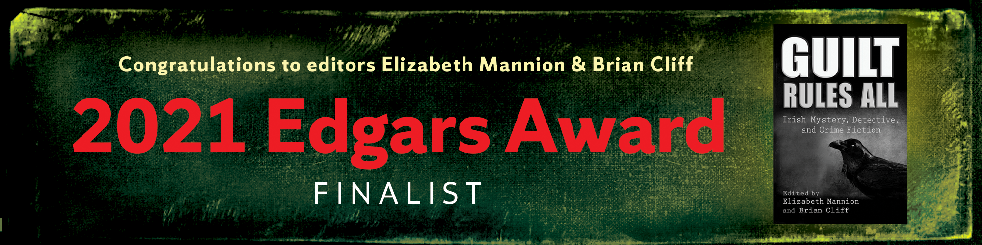 Congratulations to editors Elizabeth Mannion & Brian Cliff 2021 Edgars Award finalist